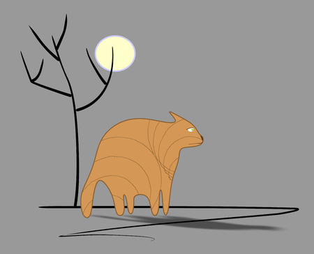 grey cat: Sadly fat ginger cat under full moon near  tree  silhouette  on grey background