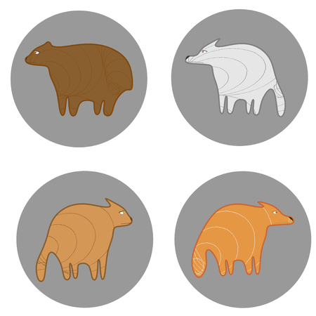 Sadly fox, wolf, cat and bear on gray circles Vector