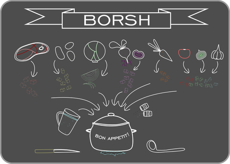 Receipt of traditional Russian soup borsh on dark gray background Vector