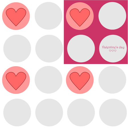 Simple seamless texture with gray circles, pink and white background, congratulating text and cute hearts Vector