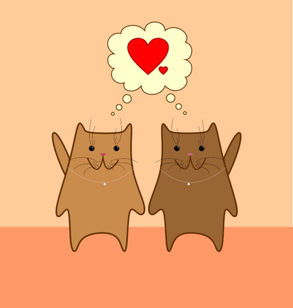 Two cute brown cats with pink noses on light orange background thinking of love Illustration