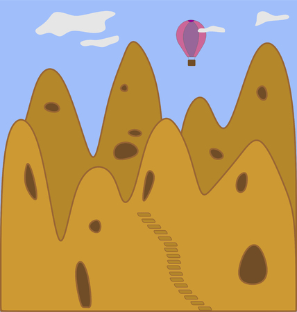 flying balloon: Abstract landscape of Cappadocia earthen pyramids and flying balloon on blue sky background