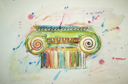 ionic: illustration of Ionic capitals drawing spattered with multicolored watercolor on white background