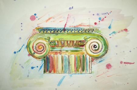 spattered: ilustraci�n de capiteles j�nicos dibujo salpicado de acuarela multicolor sobre fondo blanco
