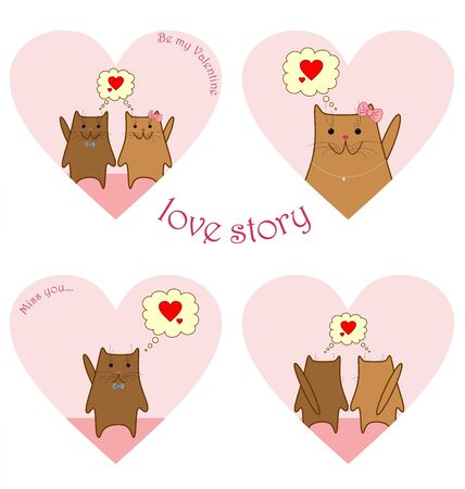 two story: Two cute brown cats with pink noses love story set in heart shaped frames Illustration