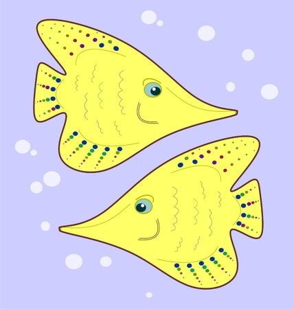 seamless texture stylized two angelfish on pastel purple background Vector