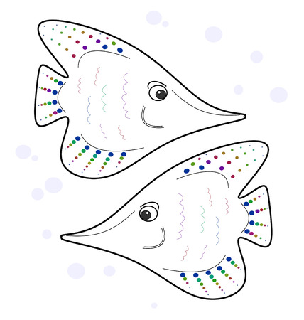 seamless texture stylized two outline angelfish on white background Vector