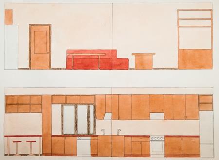 reamer: reamer the walls of the kitchen interior in orange tones