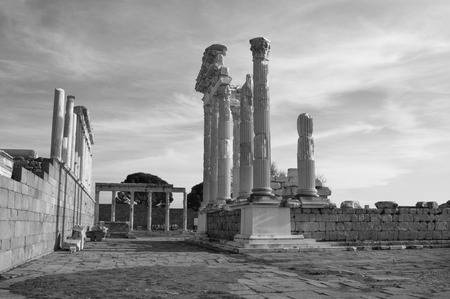 past civilizations: monochrome picture of the Ancient Greek Temple of Trajan in Pergamon in the territory of the modern city of Bergama in Turkey