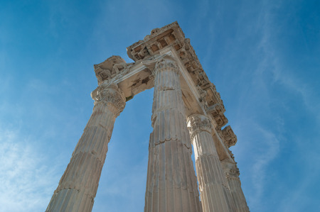 flute structure: Corinthian columns and fluted capitals with acanthus leaves of the Ancient Greek Temple of Trajan in Pergamon in the territory of the modern city of Bergama in Turkey
