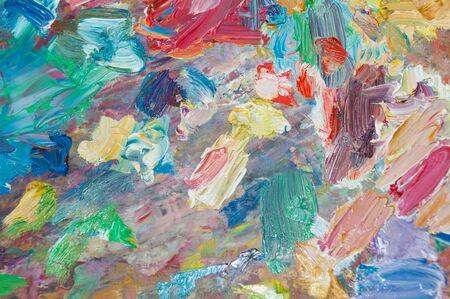 oil paints: Palette with oil paints close-up Stock Photo