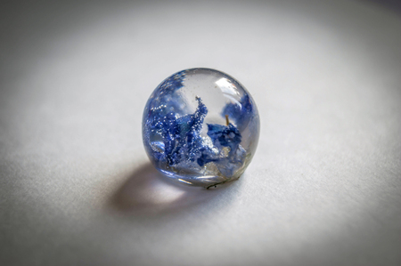 epoxy: Small dried harebell inside frusto ball shaped crystal made of epoxy resin close-up soft blue vintage toned