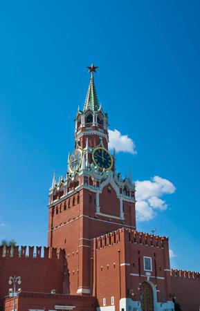spasskaya: Kremlin Spasskaya tower on Red Square in Moscow, Russia in sunny summer day