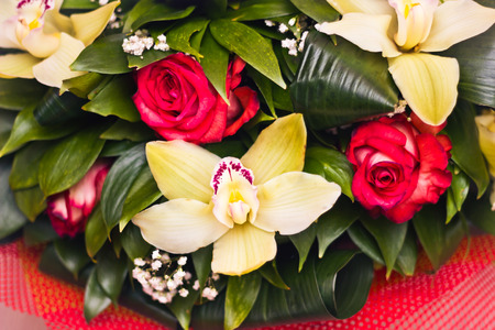 Toned picture of Roses and Alstroemeria in a lush bouquet close-up  shallow depth of field on red background with white vignette