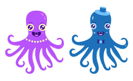 Couple of octopuses are smiling and happy Ilustração