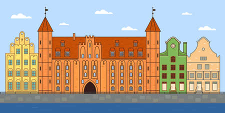 Gdansk and the river in sunny summer Illustration