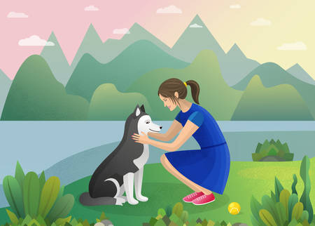 A girl is in a blue dress with a dog Illustration