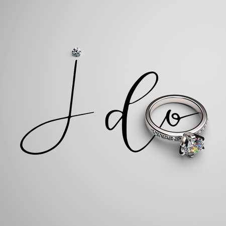 Engagement ring in white gold with diamonds and a handwritten phrase I DO on a white background. 3D render.