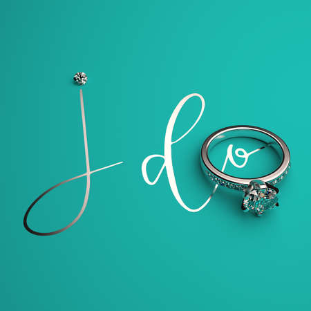 Engagement ring in white gold with diamonds and a handwritten phrase I DO on a turquoise background. 3D render.