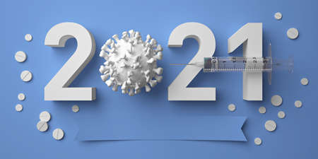 2020-2021 new year in pharmacology development: Covid-19 vaccines invention and testing, global vaccination. Antiviral therapy, coronavirus treatment & prevention. Blue medical background. 3D render.