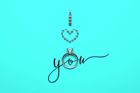 An engagement ring, a white gold pendant and diamonds set in the shape of a heart on a turquoise (blue) background with a calligraphic text forming the symbolic phrase I LOVE YOU. 3D render.