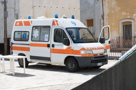 Avetrana, Italy, - Marth 19, 2020. van for medical assistance with the text AMBULANZA that meaning ambulance in Italian