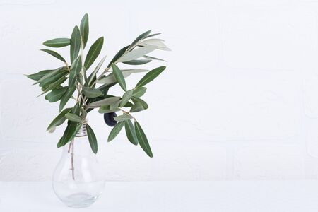 green olive branches in light bulb glass vase on a white brick wall background. Wall mockup. Minimal home decor. Fall Interior design. Copy space