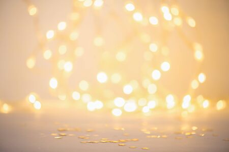 Christmas and new year abstract background of blurred lights with bokeh effect Foto de archivo