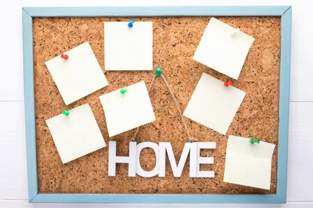 homework planning on cork board, seven stickers or letterheads on a corkboard, a notification concept, copy space, a planning or reminder concept