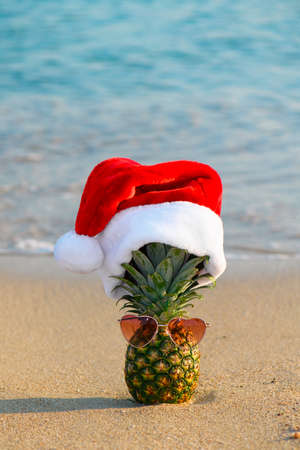 One pineapple in red Santa Claus hat wearing heart shaped sunglasses on a sand on the tropical beach near ocean, summer Christmas and winter holyday concept, selective focus. Happy New Year background