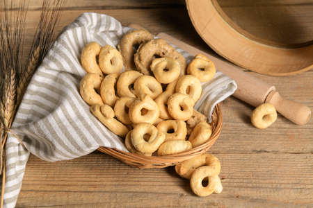 Taralli - traditional Italian snack food typical of Apulia regional cuisine