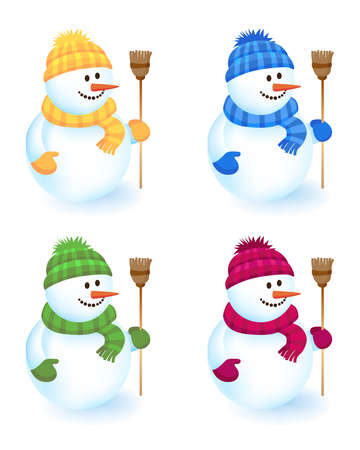 green and yellow: Four cheerful snowmen