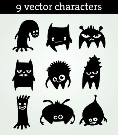 9 つのかわいい文字  イラスト・ベクター素材