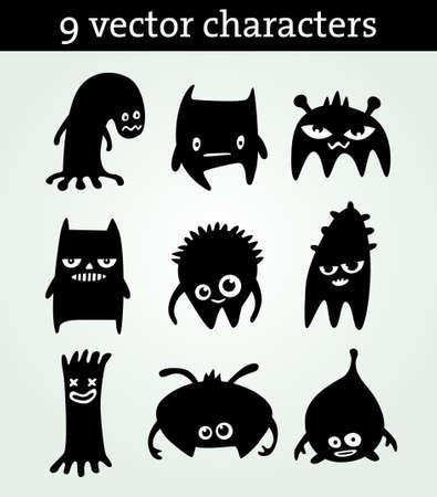 Negen schattige personages Stock Illustratie
