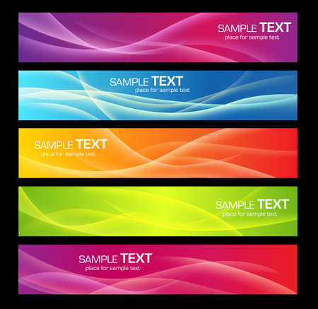 Five colorful banners for web or print 矢量图像