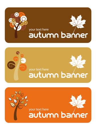Three autumn banners in flat design style Illustration