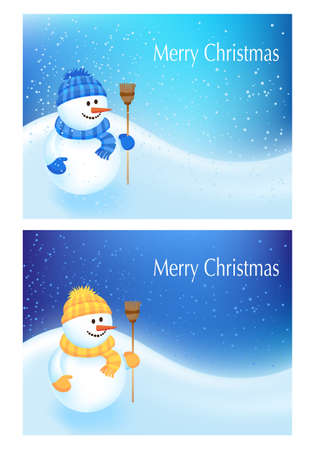 Two winter cards with a cute snowman