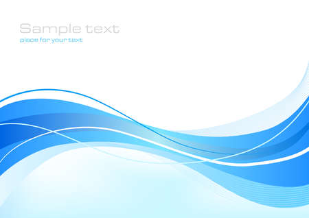 Blue abstract background with waves 矢量图像