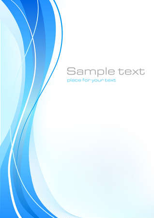 Blue abstract template with elegant lines and waves Illustration