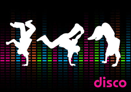 Three breakdancers on a black background