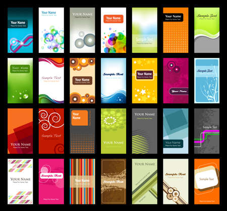 Collection of business cards with space for your text Çizim