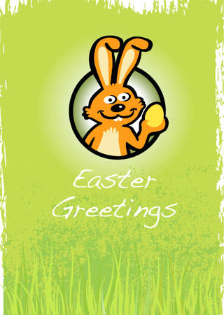 Easter greetings card with a cute bunny