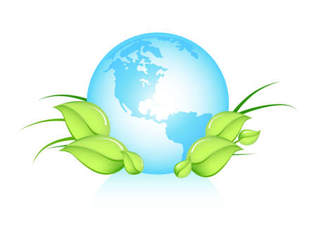 be green: Earth with green leaves - can be used to illustrate ecological topics