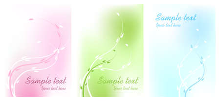 Three greetings cards with floral ornaments