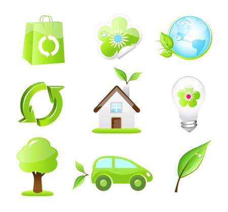 energy symbol: Nine ecology icons Illustration