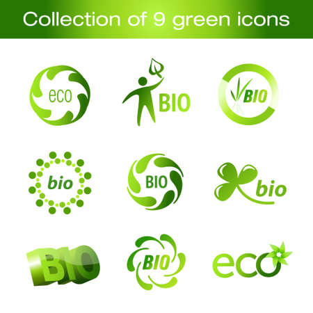 save button: Collection of green - ecology icons