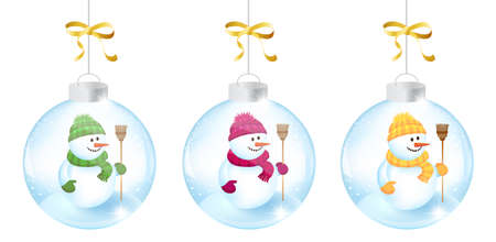 Three Christmas bals with snowmen
