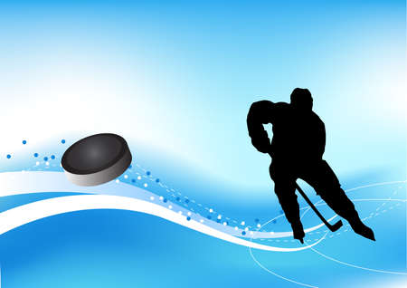 Background with an ice hockey player shooting a goal