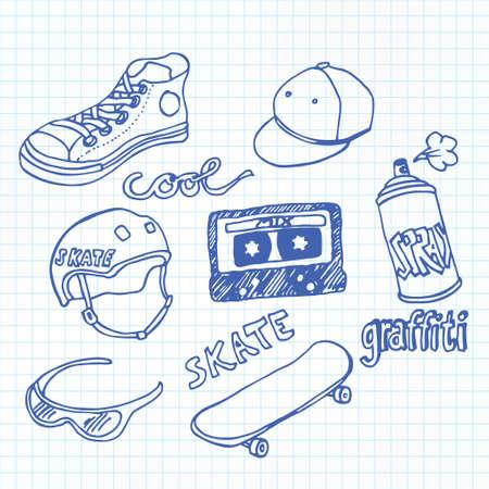 Skate and graffiti doodles