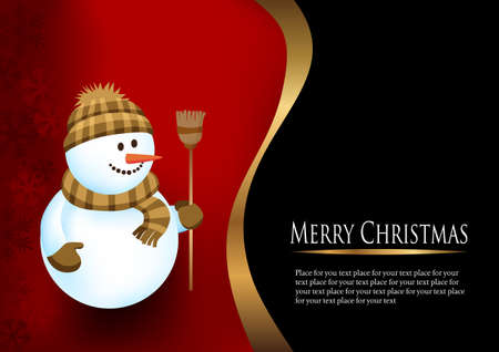 Winter background with a snowman